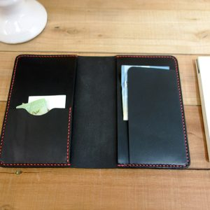 Leather Midori Cover Black Leather Red Stitching