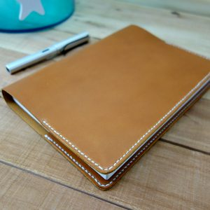 Leather Hobonichi Cousin, Tan Leather, white