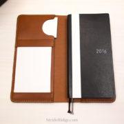 leather Hobonichi Weeks cover, index card holder, chestnut, tan