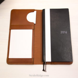 leather Hobonichi Weeks cover, index card holder, chestnut, tan
