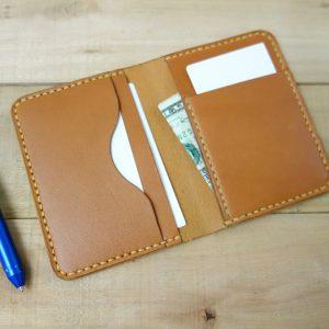 Slim front pocket wallet, tan, tan