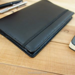 A5 Leather Notebook Cover, Band Cutout, Black, Black Stitching