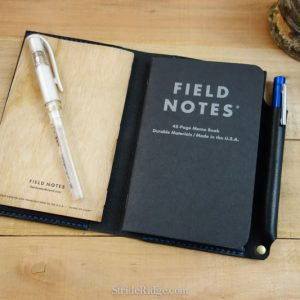 leather field notes cover with pen loop, black, royal blue
