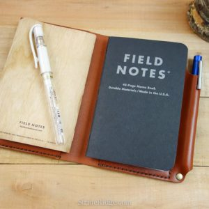 Leather Field Notes Cover, Pen Loop, Chestnut, Medium Brown