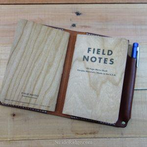 Leather Field Notes Cover, Pen Loop, Medium Brown, Dark Brown