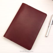 Hobonichi Cousin Cover, Burgundy Leather, deep red