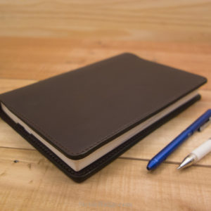 Leather Hobonichi Cousin Cover, Dark Brown Leather, Dark Brown
