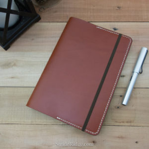 A5 Leather Notebook Cover, medium brown