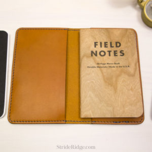 Leather Field Notes Cover, Tan Leather, Denim Blue