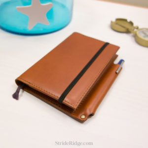 Leather Moleskine Notebook Cover, Pen Loop, Pocket Size, Chestnut