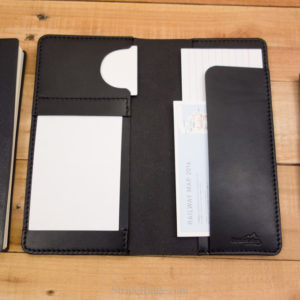leather hobonichi weeks cover, index card holder, black, black