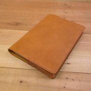 A5 Leather Notebook Cover, Band Cutout, Tan, Red